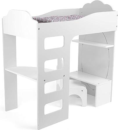 Small Foot 12025 Puppenhochbett aus Holz, mit Leiter, Bettwäsche, Schreibtisch, Stuhl und Spiegel, AB 3 Jahren Juguete, Multicolor