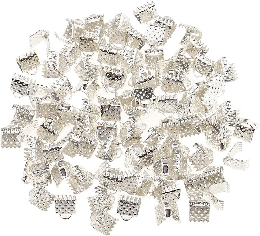 Necklace Ribbon Cord End Crimp Clamps 6mm 10mm Pack of 200PCS DIY Jewellery