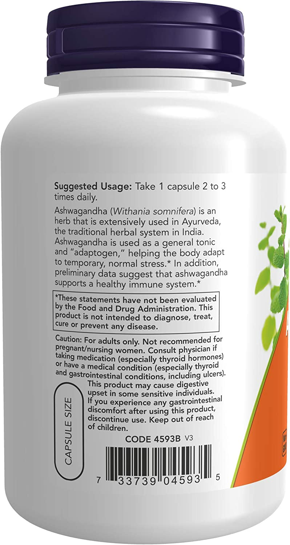 NOW Supplements, Ashwagandha (Withania somnifera)450 mg (Standardized Extract), 180 Veg Capsules