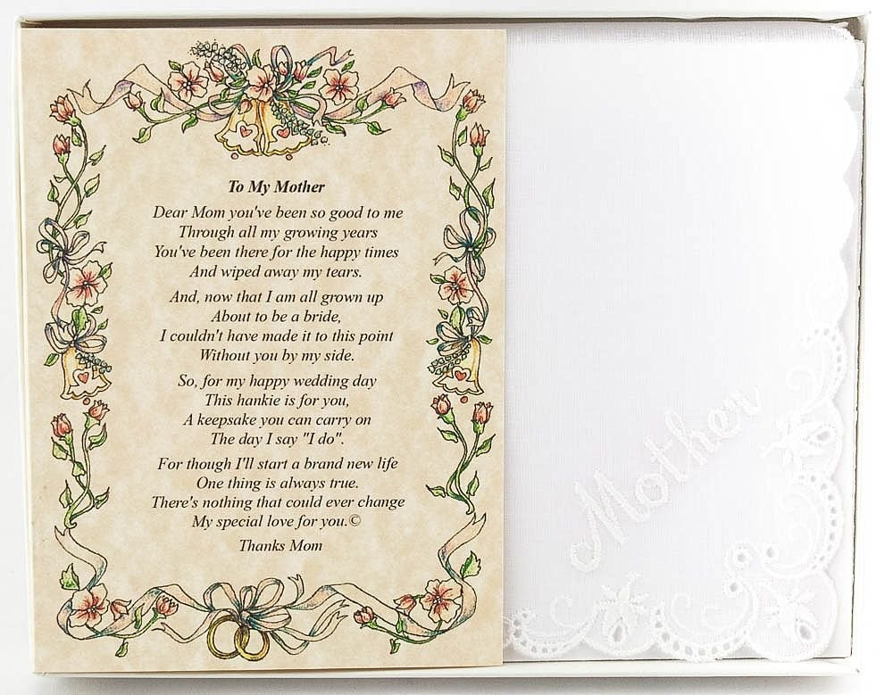 Wedding Handkerchief Poetry Hankie (for Bride's Mother) White, Lace Embroidered Bridal Keepsake, Beautiful Poem | Long-Lasting Memento for The Bride's Mother | Includes Gift Storage Box