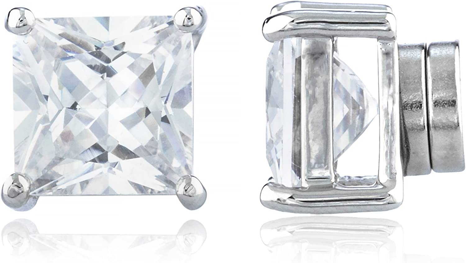 New & Improved! Silvertone with Clear Cz Square Magnetic Stud Earrings - 4mm to 12mm Available (RH-M6UQ-HL51)