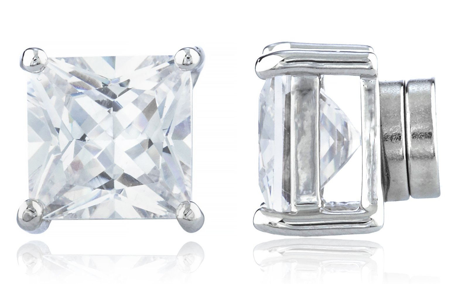 Silvertone Magnetic Earrings with Clear Cz Square - 4mm to 12mm (8 Millimeters)