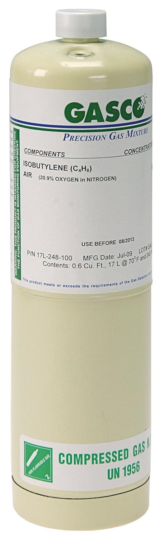 GASCO 17L-114 Steel Cylinder with 99.99% Nitrogen, 240 PSI Operating Pressure, 17 Liter Capacity, 10.75