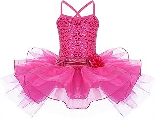 OBEEII Ragazze tutù Balletto Senza Maniche Sequined Ballet Dance Dress Glitter Canotta Tutu Body Costumi di Danza 2-10 Anni