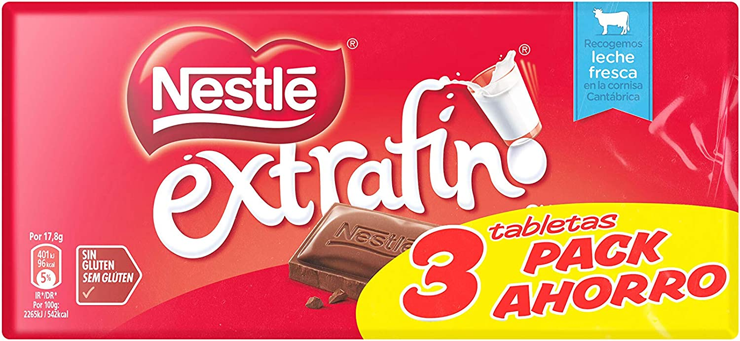 Nestlé - Chocolate con Leche Extrafino - Pack de 3 x 125 g - [Pack ...