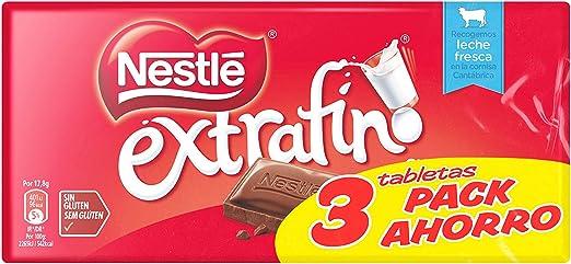 Nestlé Extrafino Tableta de Chocolate con Leche - Pack de 3 x 125 ...
