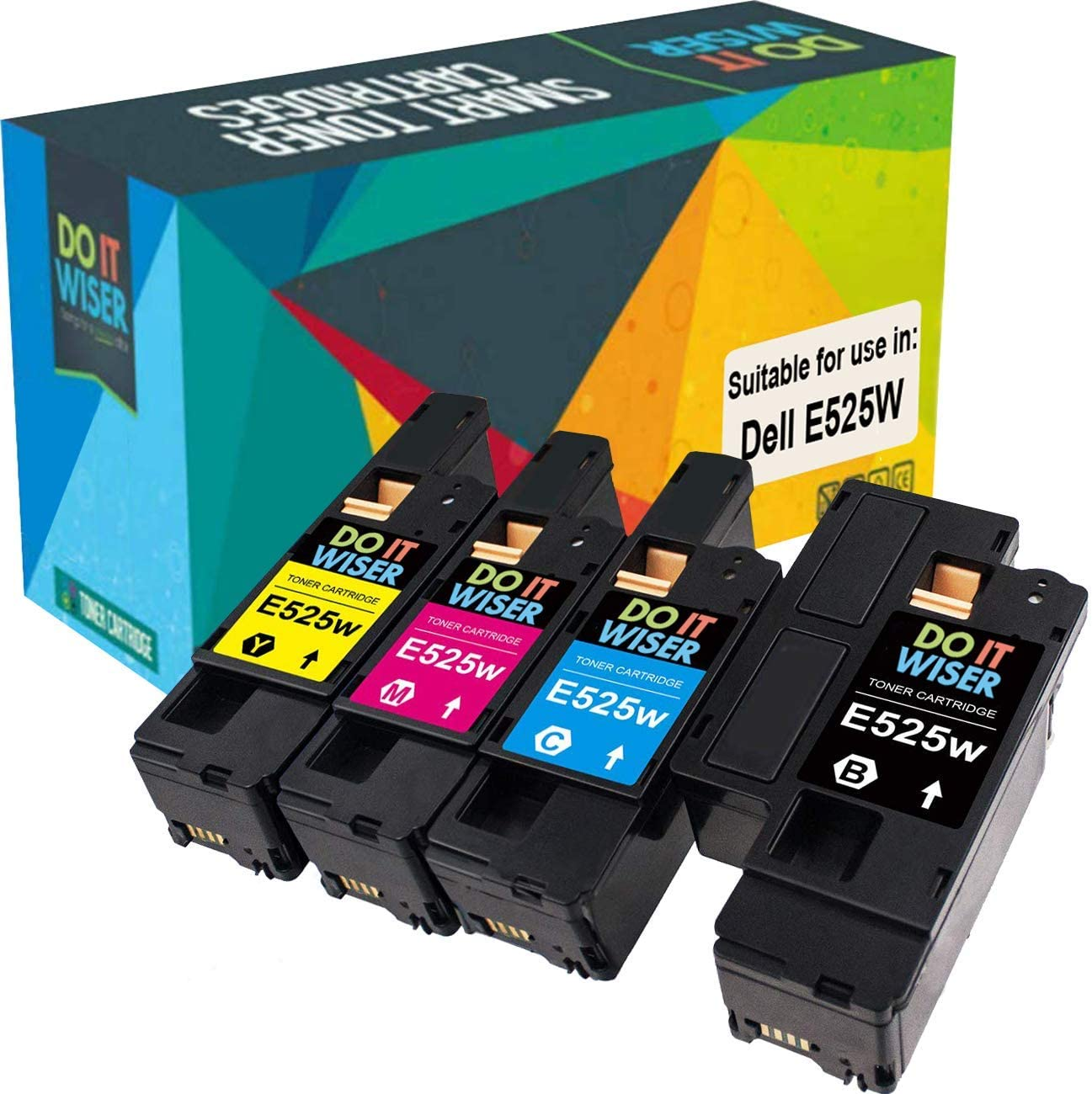 Do it Wiser Compatible Toner Cartridge Replacement for Dell E525W E525 525W | 593-BBJX, 593-BBJU, 593-BBJV 593-BBJW (Black, Cyan, Magenta, Yellow) 4 Pack