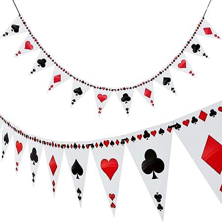 Boao 2 Piezas Guirnalda de Banderines de Fiesta Temática de Póker Bandera de Triángulo para Decoración de Fiesta, 24 Banderas: Amazon.es: Juguetes y juegos