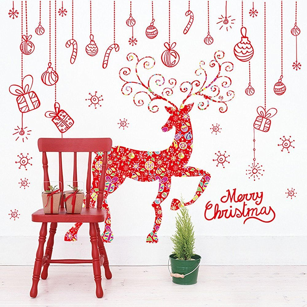 BIBITIME Santa Deer Red Reindeer Wall Decals Snowflake Christmas Wall Sticker Removable Vinyl Home Decor Decal for Glasses Windows Door Showcase