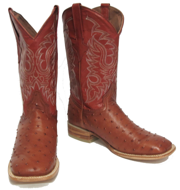 Men's Crocodile Ostrich Quill Lather Cowboy Western Square Toe Boots Cognac