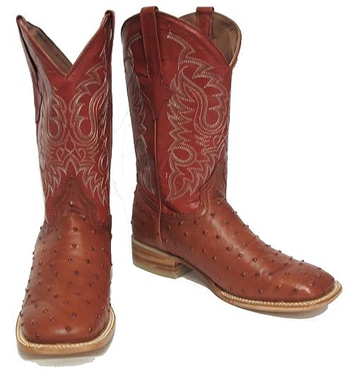Men's Crocodile Ostrich Quill Leather Cowboy Western J Toe Boots Black