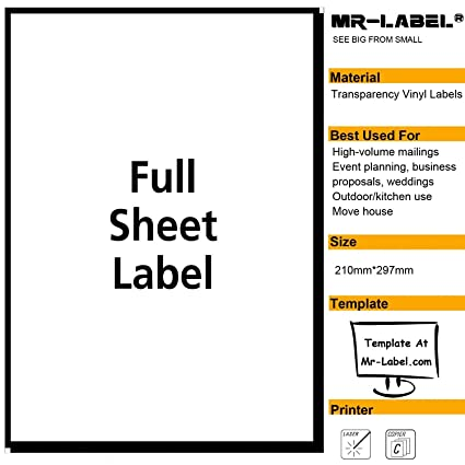 Mr label extra large clear full sheet strong adhesive labels transparent tear