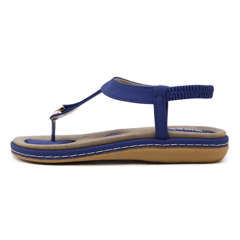 KUONUO Sandalen Damen Sommer Bohemia Beach Sandal Flach Sommerschuhe Sandals PU Leder Zehentrenner Flip-Sandalen Toe Separator Blau 43 sFDqDG2