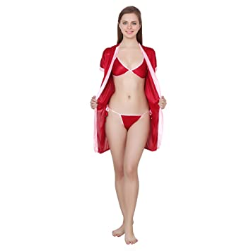 930f4cfc27ea2 Buy Queen Pretty Women's Satin Robe with lingerie Set (Red) Online at Low  Prices in India - Amazon.in