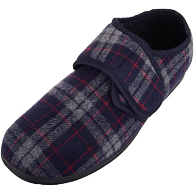 Amazon.com | ABSOLUTE FOOTWEAR Mens EE Wide Fitting Tartan Slippers/Shoe with Ripper Fastening | Shoes