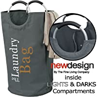The Fine Living Co USA - Two Section Lights and Darks Laundry Hamper Bag - Large Capacity Washing Basket - Collapsible…