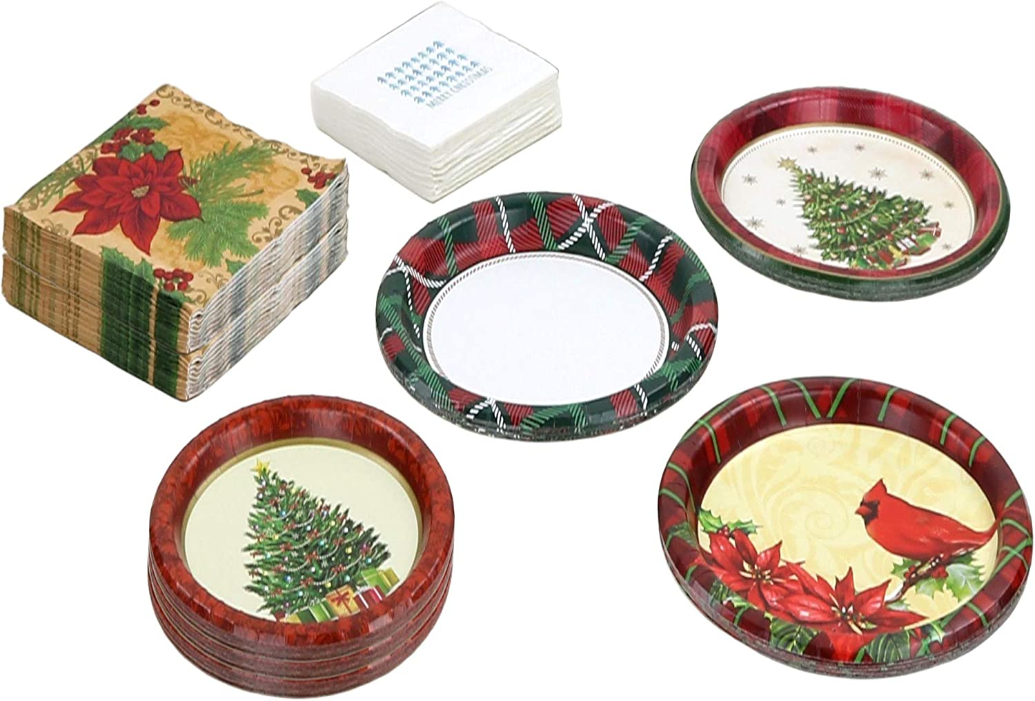 Christmas Paper Plates and Napkins  24 Dinner Plates  24 Dessert Plates  32 Dinner Napkins  24 Drink Napkins  Various Designs