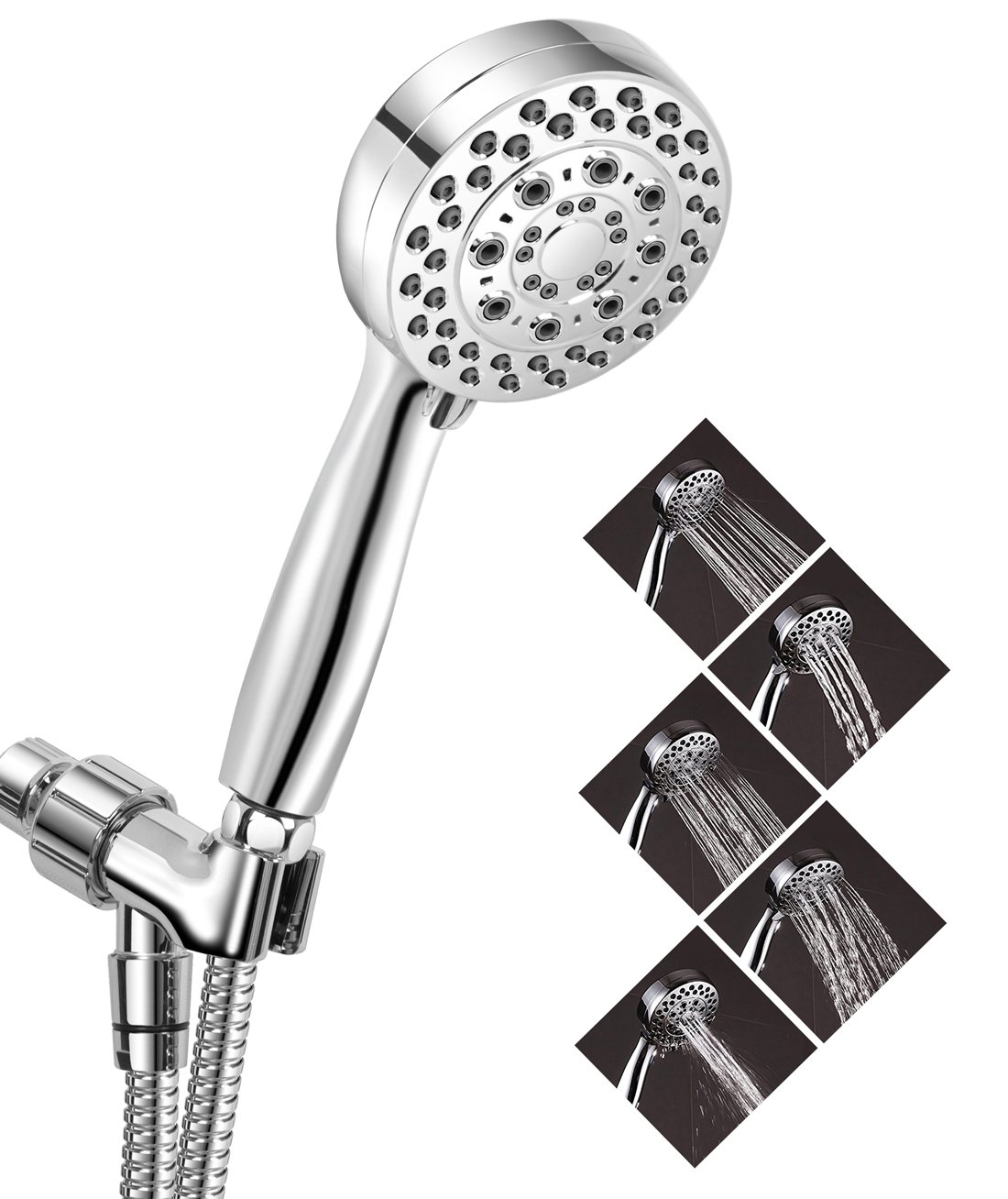 Shower Head With Hose - 5 Function Shower Head Removable Water Restrictor- Luxury Full Chrome Finish Hand Shower by SuperArt (Image #2)