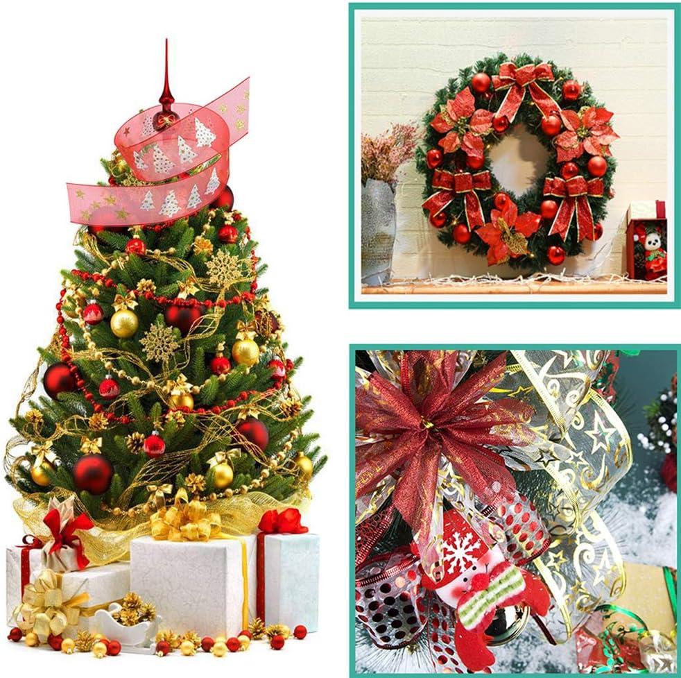 1 YELLOW RIBBON Sunwuun Cinta de Copo de Nieve con Brillo de Navidad de 10 metros,Cinta de Lentejuelas Plateadas Decoraci/ón de Celebraci/ón de Navidad,Evento Festivo,Cumplea/ños
