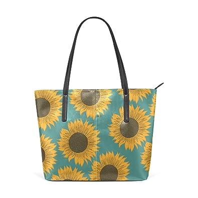 Amazon.com: Para mujer bolsos de piel divertido girasol ...