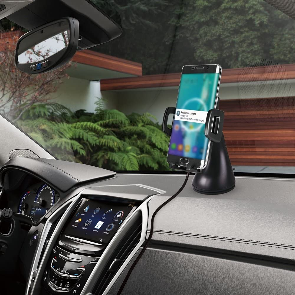 Fast Wireless Charger, YOUSTOO FC50 Qi Standard Adjustable Wireless Charging Dock with Air Vent Bracket Car Mount and Suction Cup Car Holder for