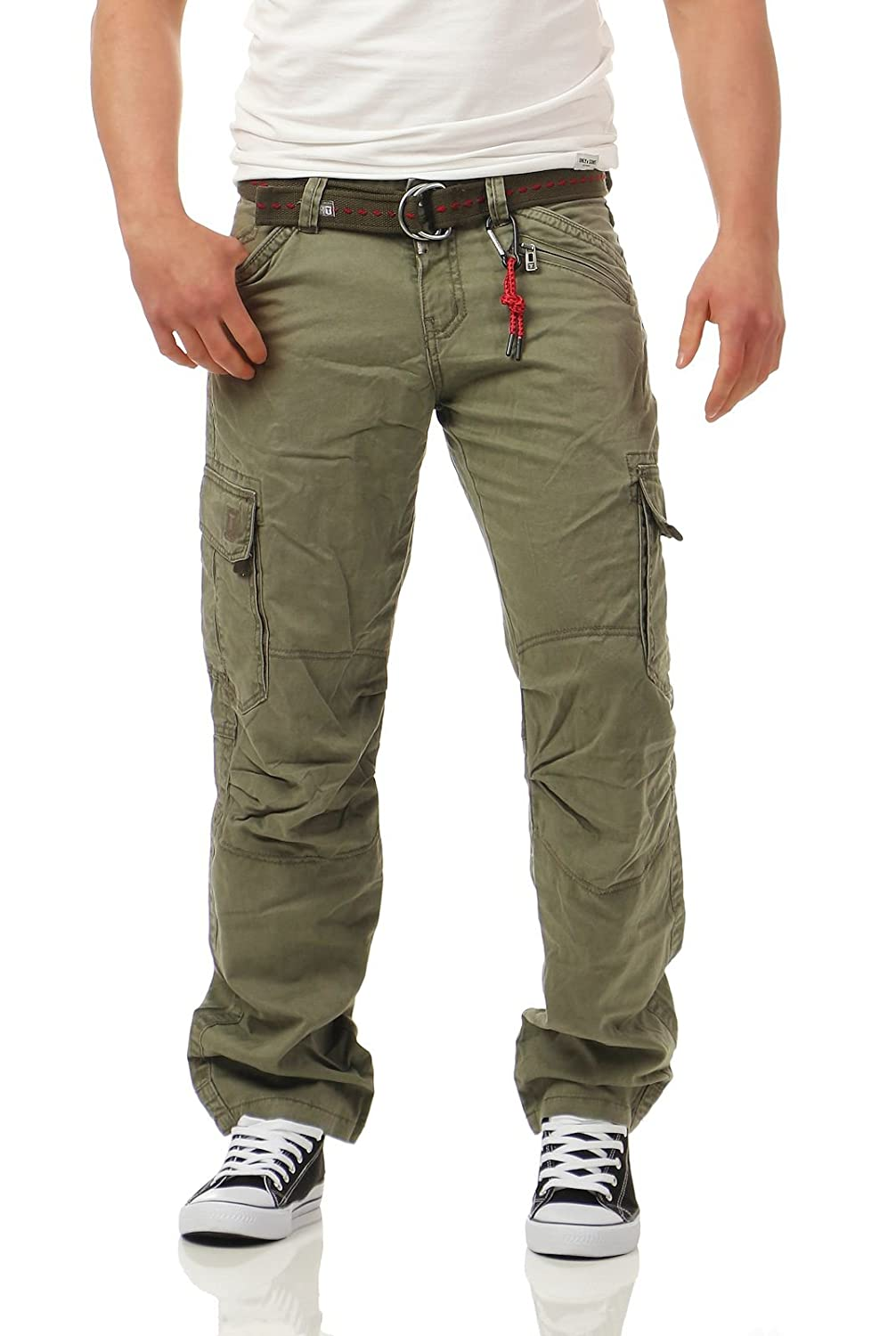 Timezone Herren Benito Cargo Loose Fit Jeans Ivy Olive