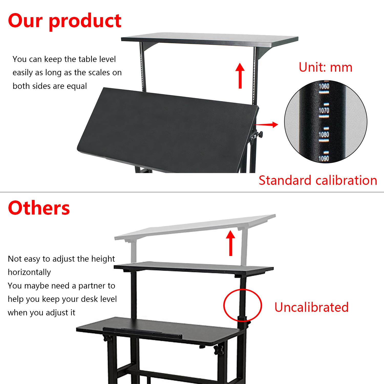 Heyesk Stand Up Desk Height Adjustable Home Office Desk with Standing (Black) by heyesk (Image #3)