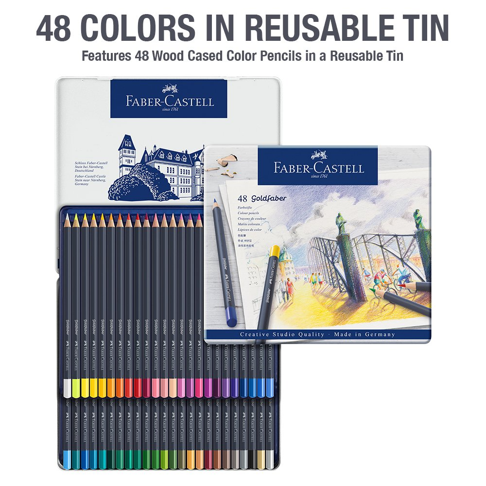 Faber-Castell Creative Studio Goldfaber Color Pencils - Tin of 48 by Faber-Castell (Image #2)