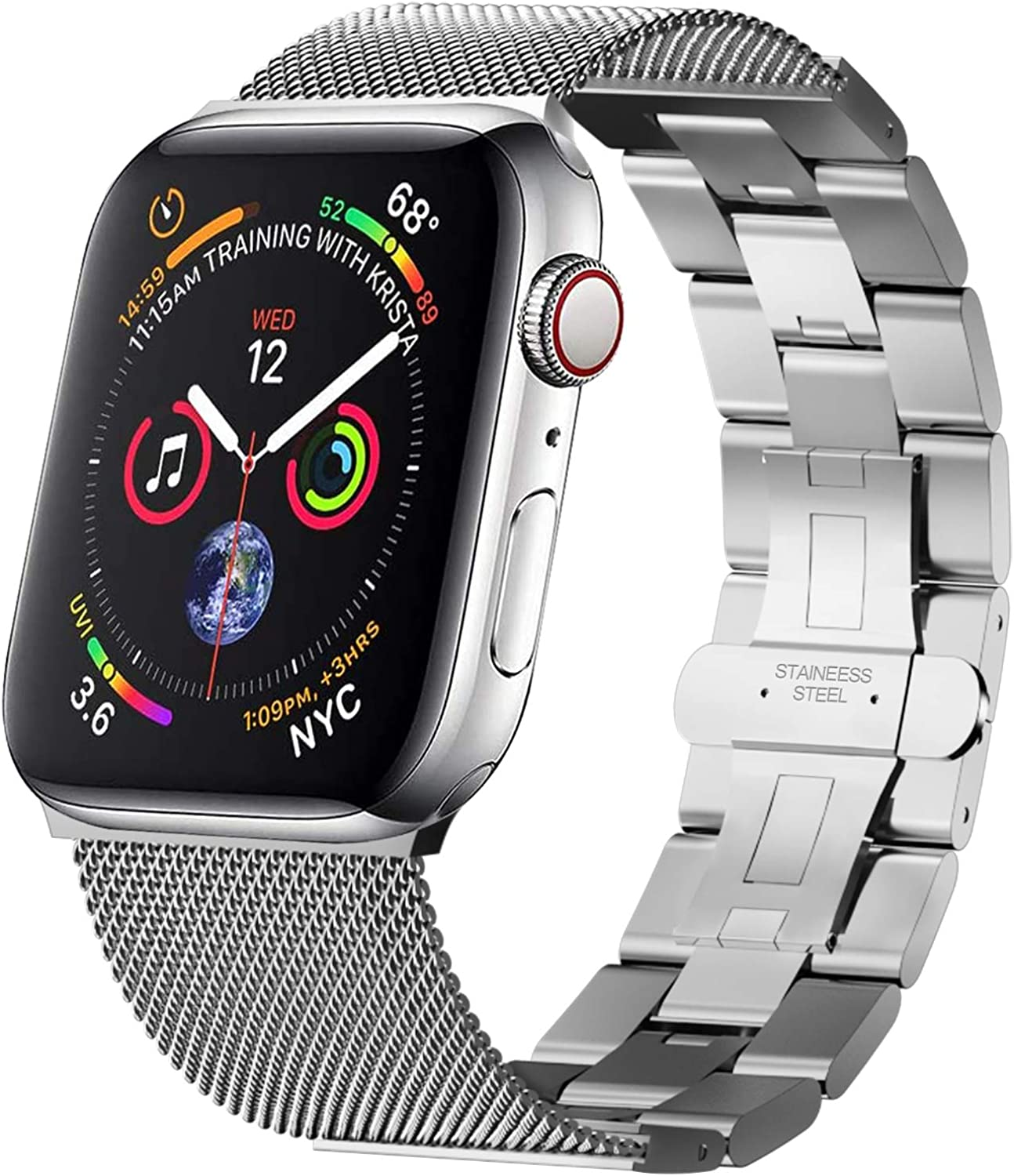 Aowemea Mesh + Links Design Butterfly Buckle Stainless Steel Band Compatible with Apple Watch Band iWatch Series 6 5 4 3 2 1 Women Men Replacement Strap Wristband Bracelet