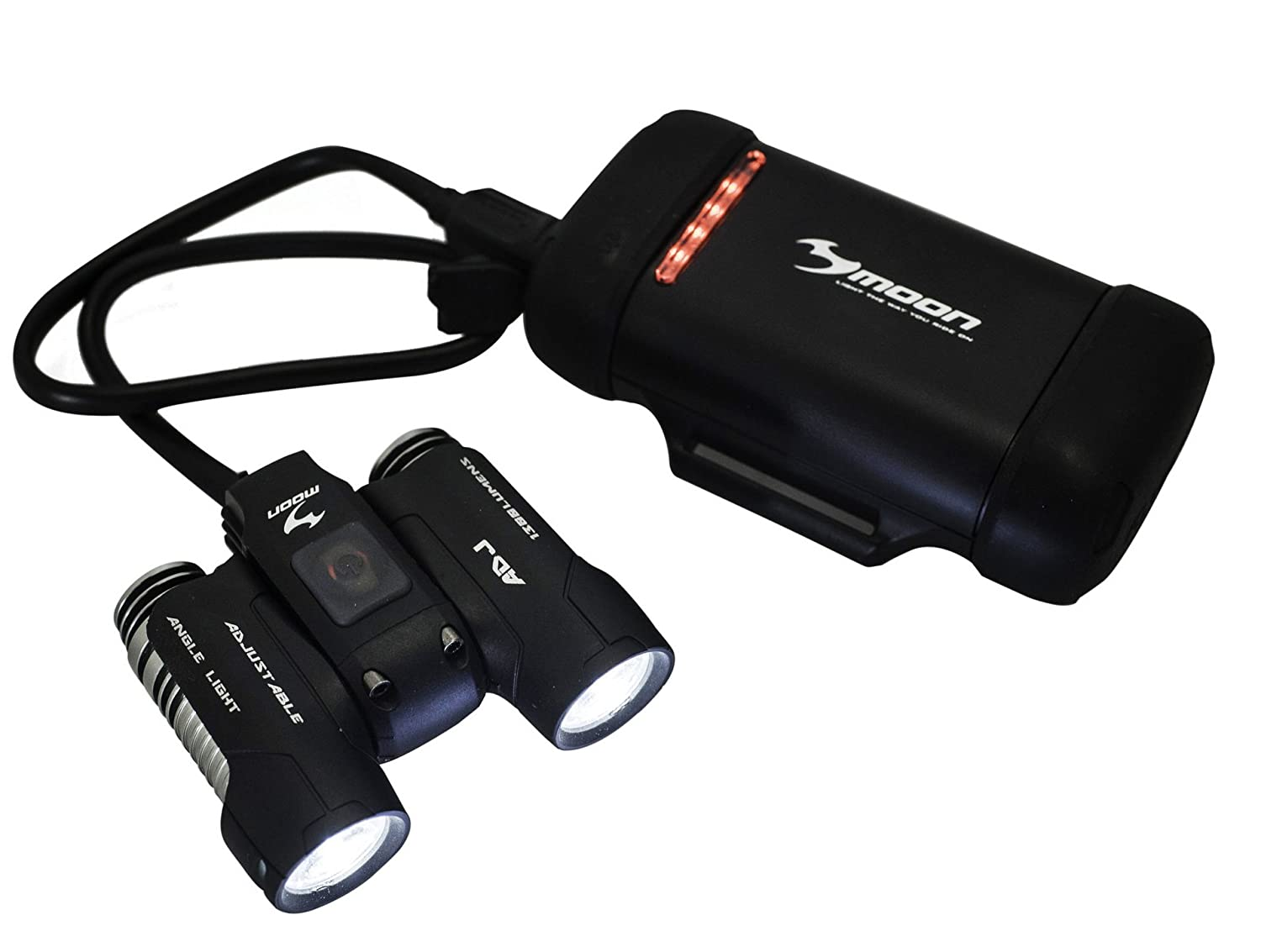 Moon ADJ 1300 Lumen Rechargeable Front Bike Lights with 2 CREE LED's Having Independent Adjustment LAA544