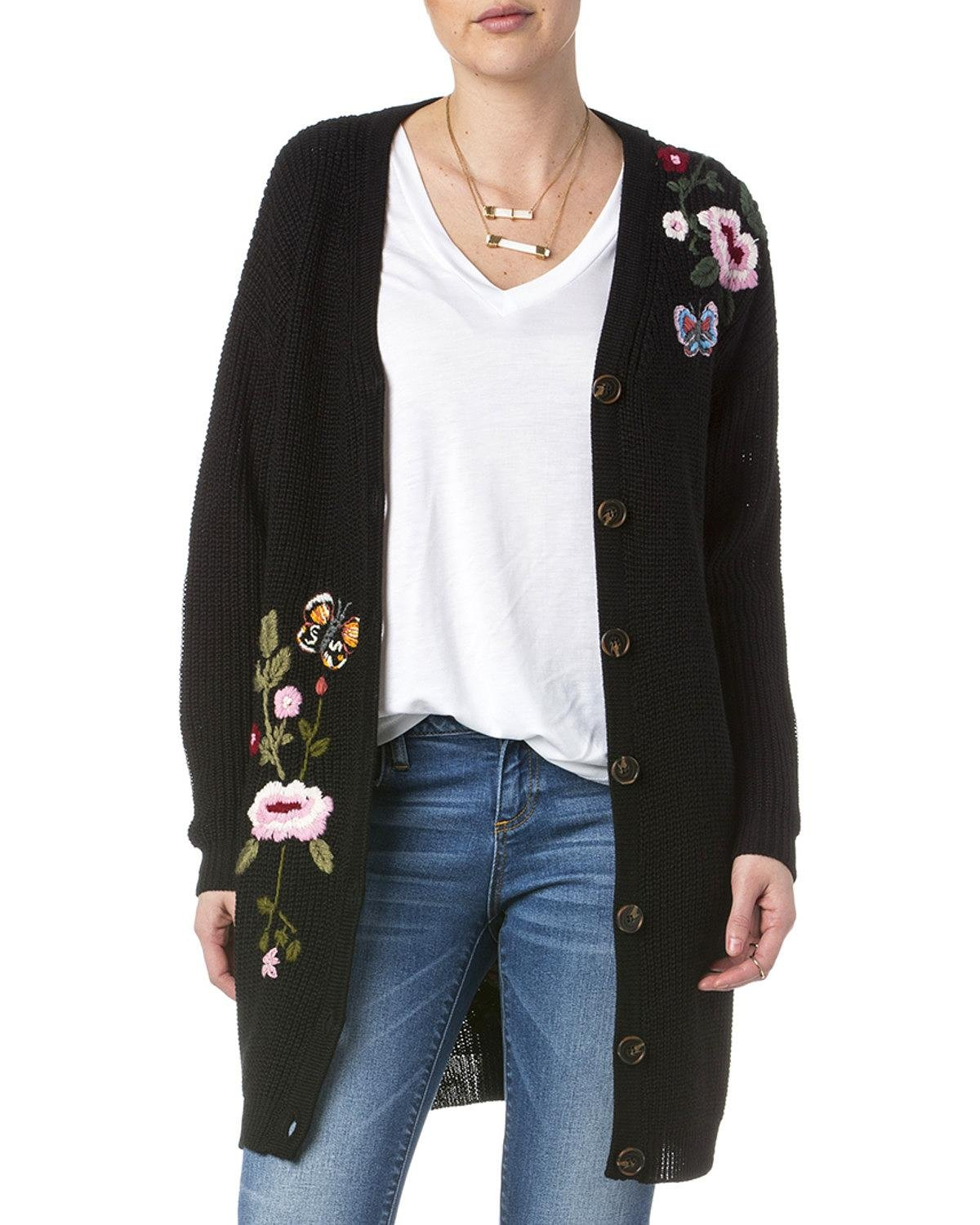 Miss Me Women's Floral Embroidered Sweater Black Large by Miss Me