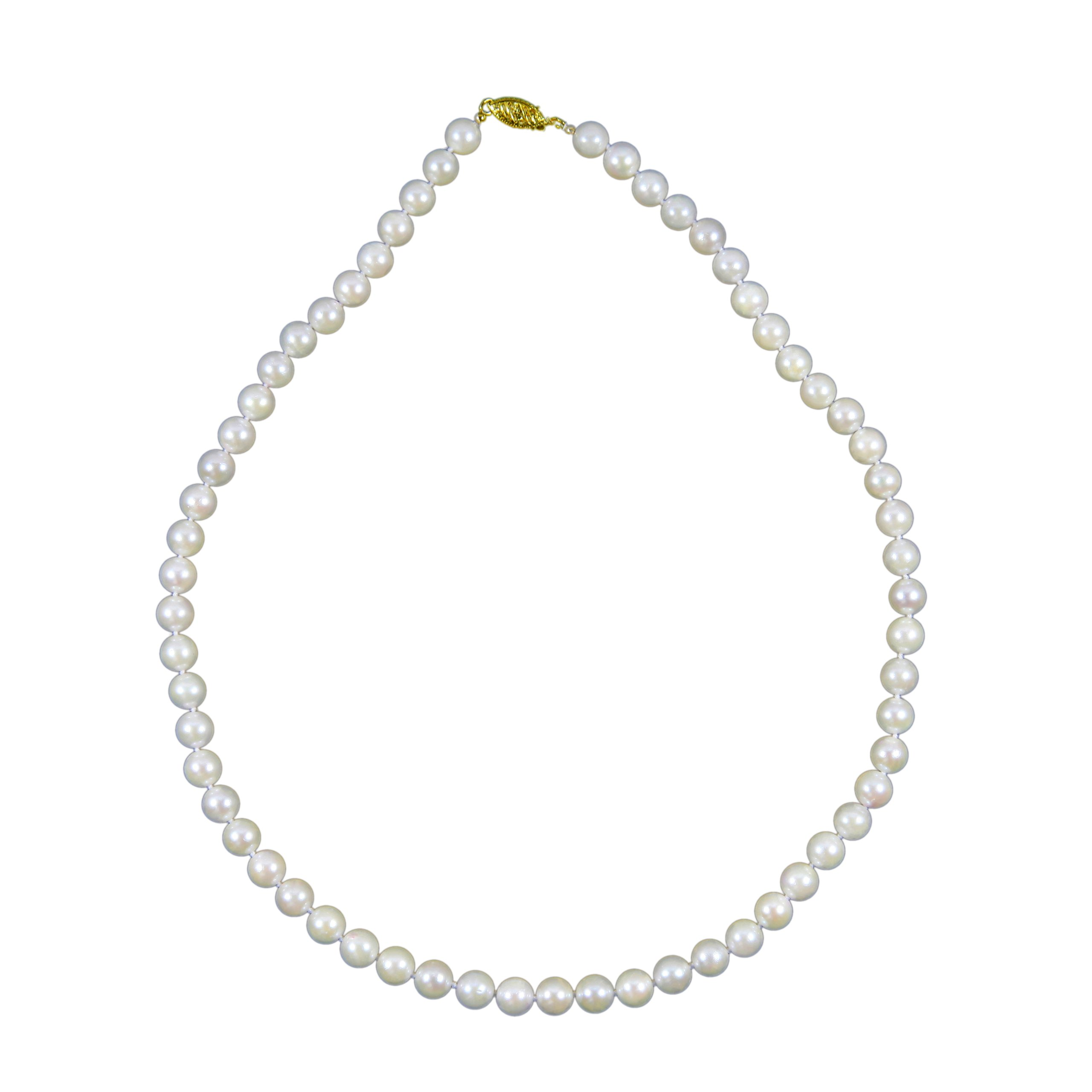 Bridal Wedding 14k Yellow Gold 6.5-7.0mm White Akoya Cultured Pearl High Luster Necklace 18'' Length