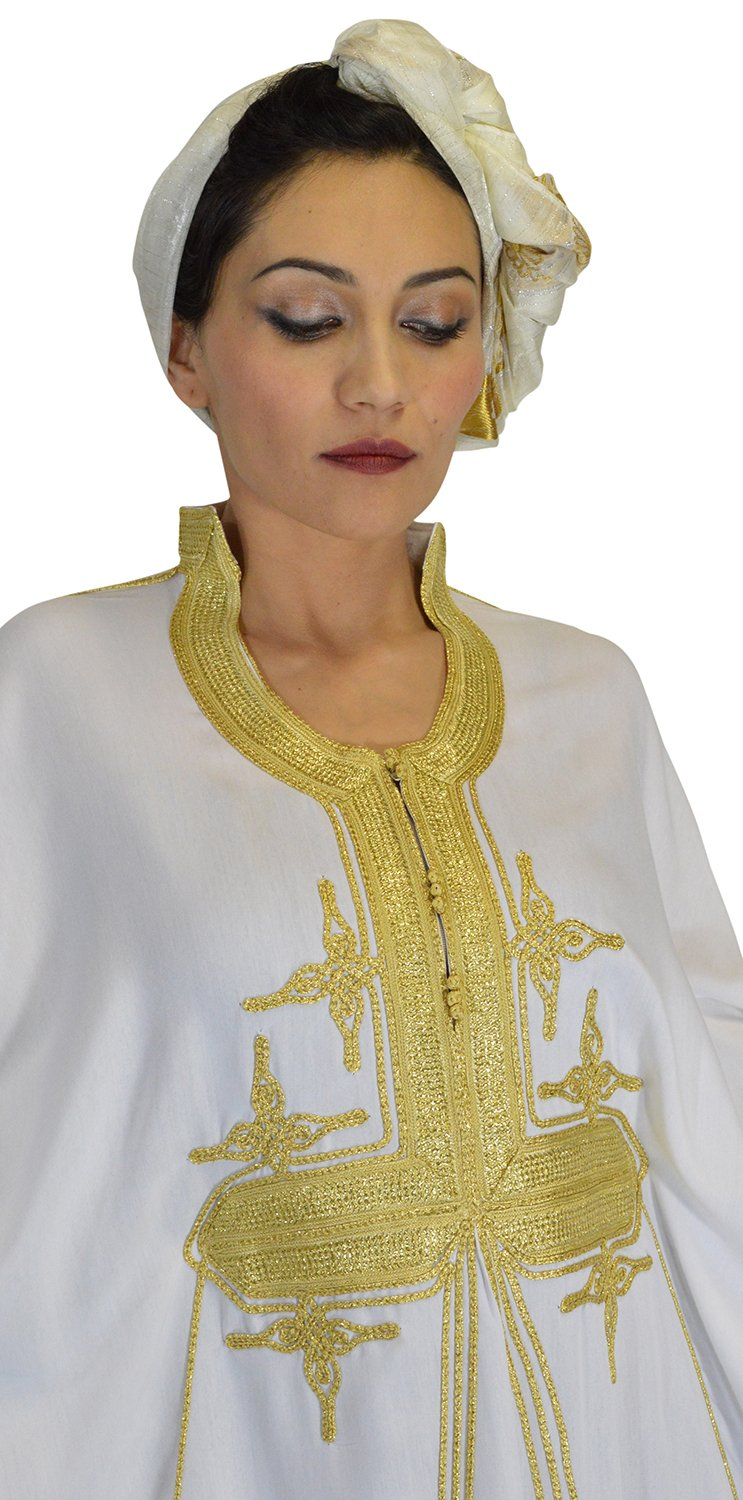 Moroccan Caftans Women Butterfly Hand Made with Gold Embroidery Long One Size White by Moroccan Caftans (Image #9)