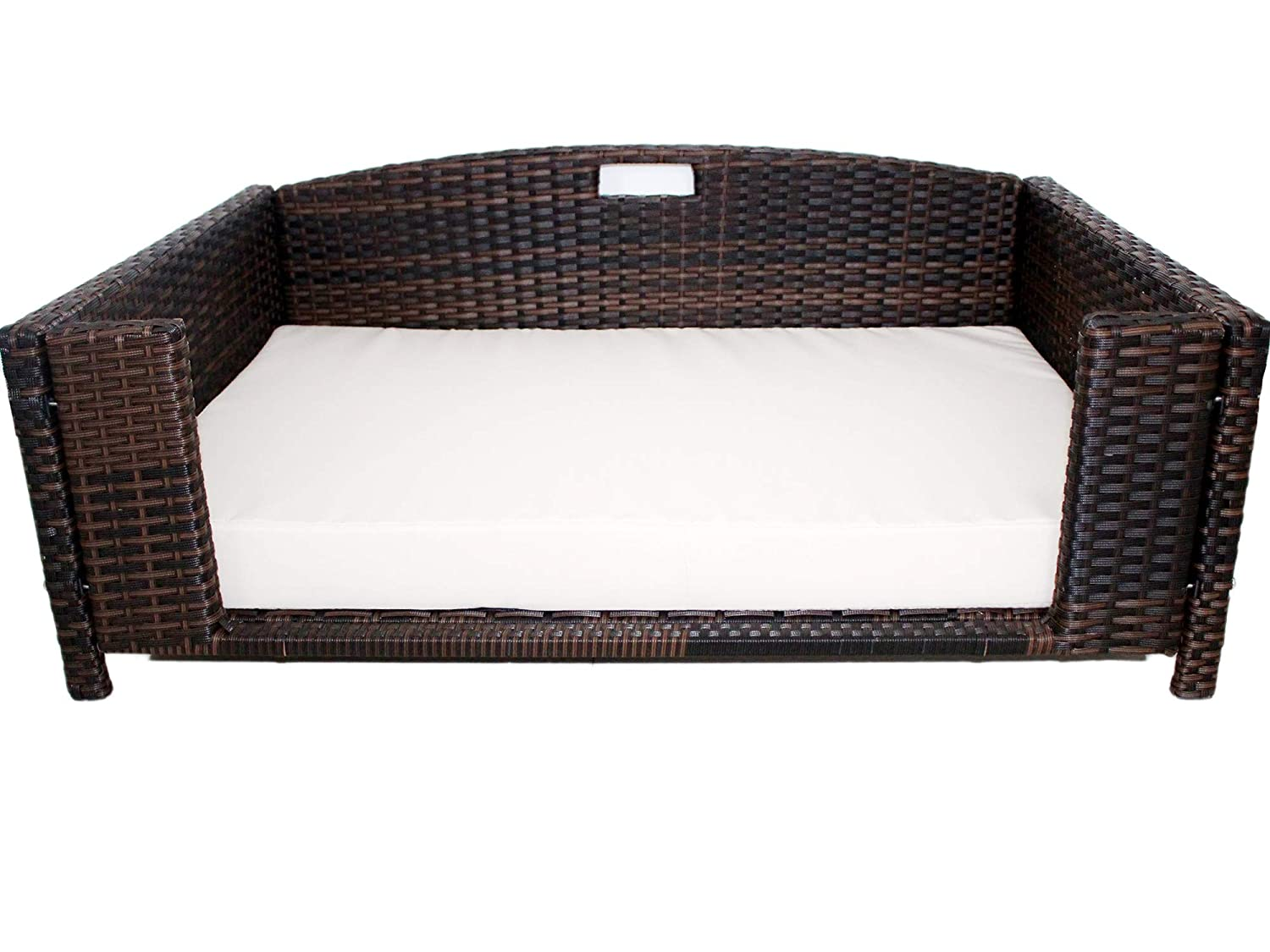 Iconic Pet Rectangular Rattan / Wicker Pet Bed in Varying Sizes – Metal Framed Indoor / Outdoor Furniture for Dogs / Cats Made of Pliable Rattan, Easy to Clean, Water Resistant Cushion Cover