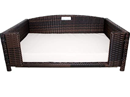 Cool Iconic Pet Rectangular Rattan Wicker Pet Bed In Varying Sizes Metal Framed Indoor Outdoor Furniture For Dogs Cats Made Of Pliable Rattan Easy Interior Design Ideas Oxytryabchikinfo