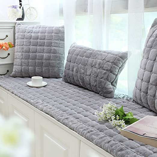 DM&XJ Plush Window seat Cushions Indoor,Non-Slip Bay Window pad,Bay Window Cushion,Solid Color Thickened Balconies mat,Machine Washable-D ...