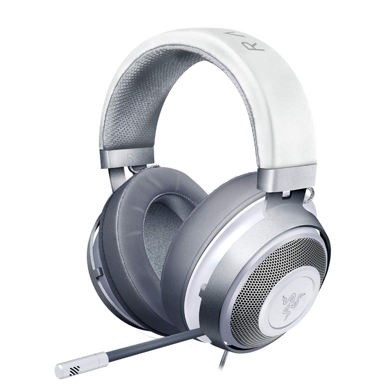 Razer Kraken Gaming Headset: Lightweight Aluminum Frame - Retractable Cardioid Mic - for PC, PS4, Nintendo Switch - 3.5 mm Headphone Jack - Mercury White
