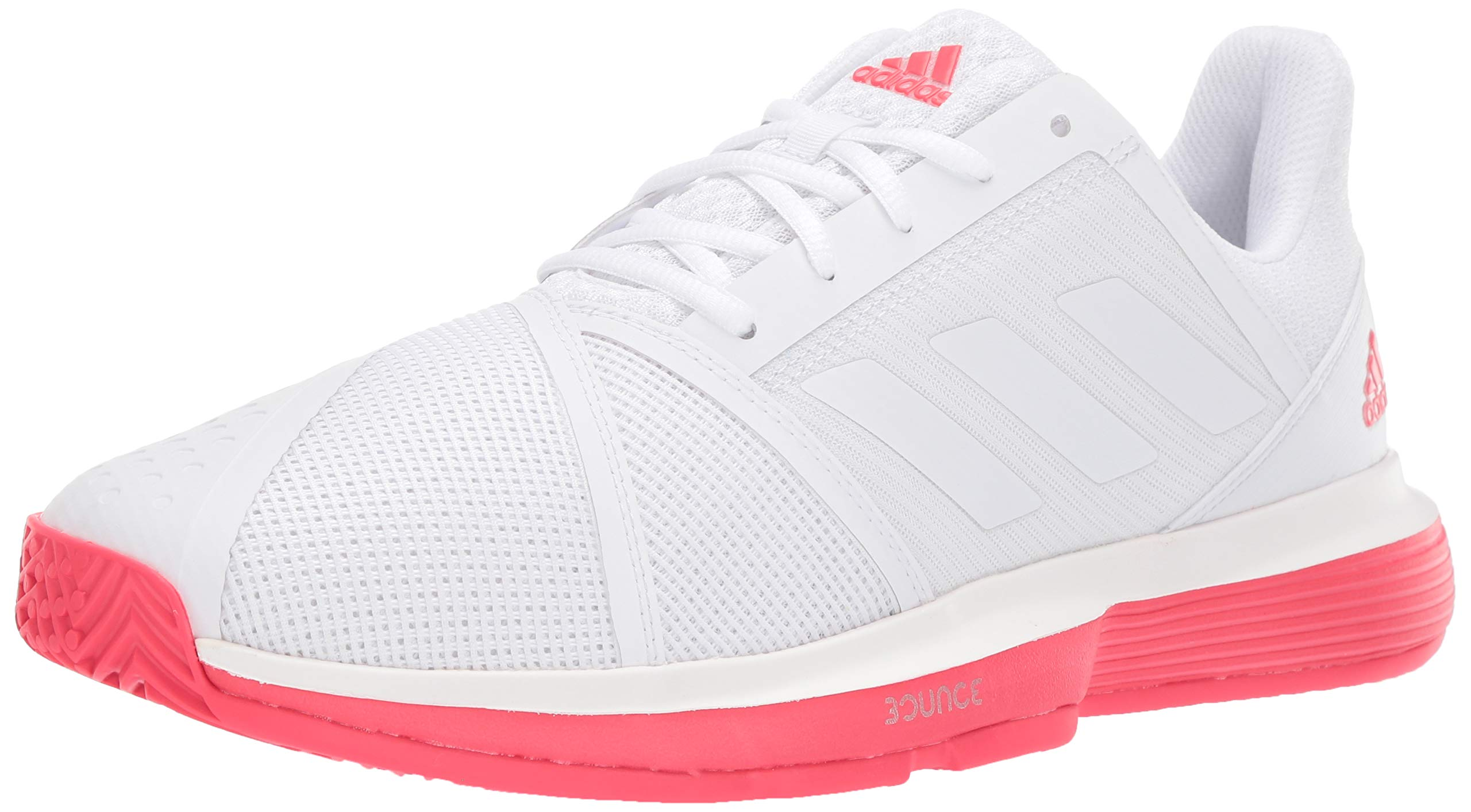 adidas Men's Courtjam Bounce, White/Shock red, 6.5 M US
