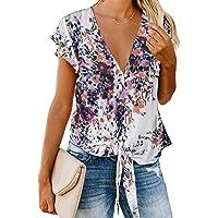 HOTAPEI Women Casual Short Sleeve Round Neck Pockets Tunics Loose T Shirt Blouses Tops