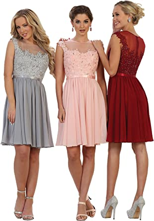 Amazon Com May Queen By Formal Dress Shops Inc Fds1550 Short Bridesmaids Designer Dress Clothing