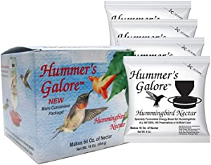 Hummers Galore, Hummingbird Food, All Natural Hummingbird Nectar for Healthy Hummingbirds, 4 packets, makes 64 Ounces