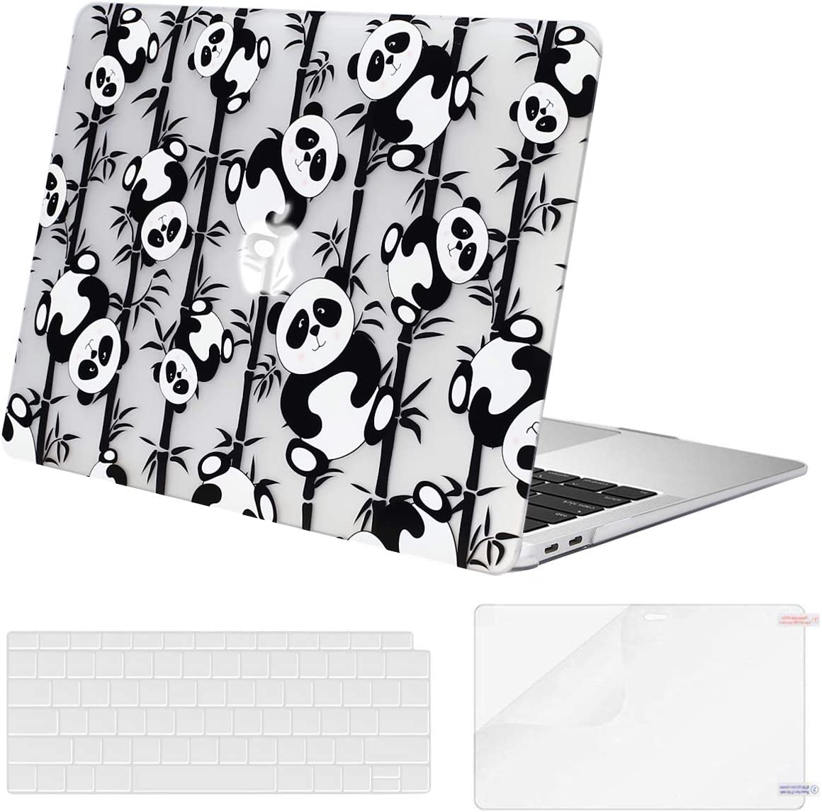 MOSISO MacBook Air 13 inch Case 2020 2019 2018 Release A2179 A1932 Retina Display, Plastic Pattern Hard Shell & Keyboard Cover & Screen Protector Only Compatible with MacBook Air 13, Cute Panda