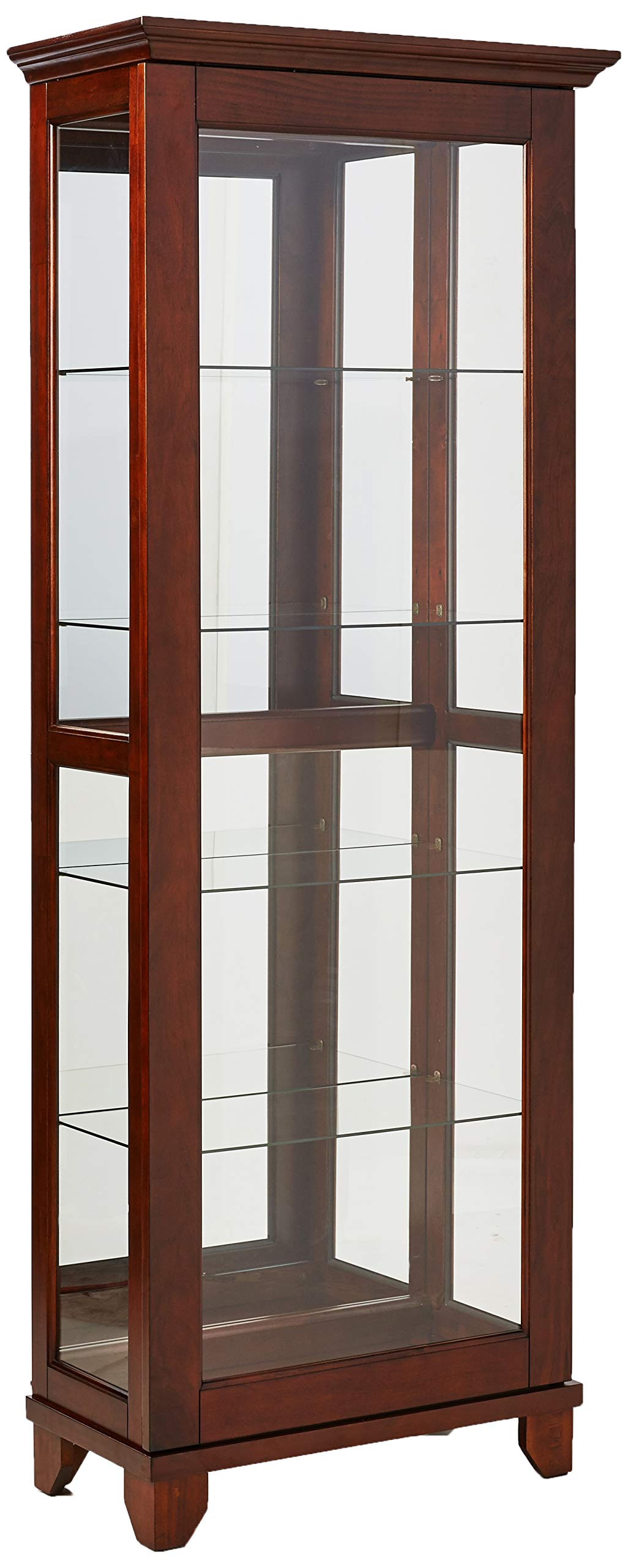 5-Shelf Curio Cabinet with Mirrored Back Chesnut by Coaster Home Furnishings