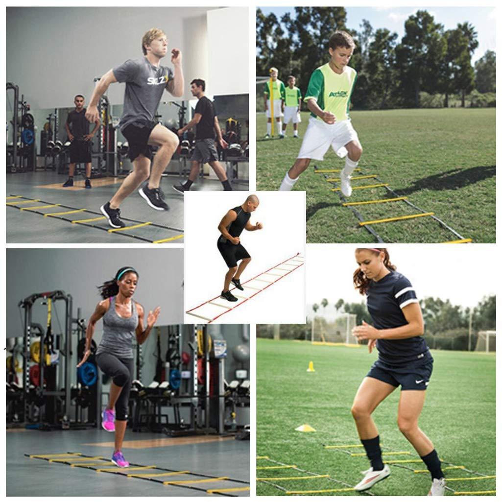 12 Rung /Échelle de Vitesse Durable Entra/înement de Foot Foot Fitness Entra/înement de Football KAIMENG /Échelle dagilit/é de 6 m Bleu
