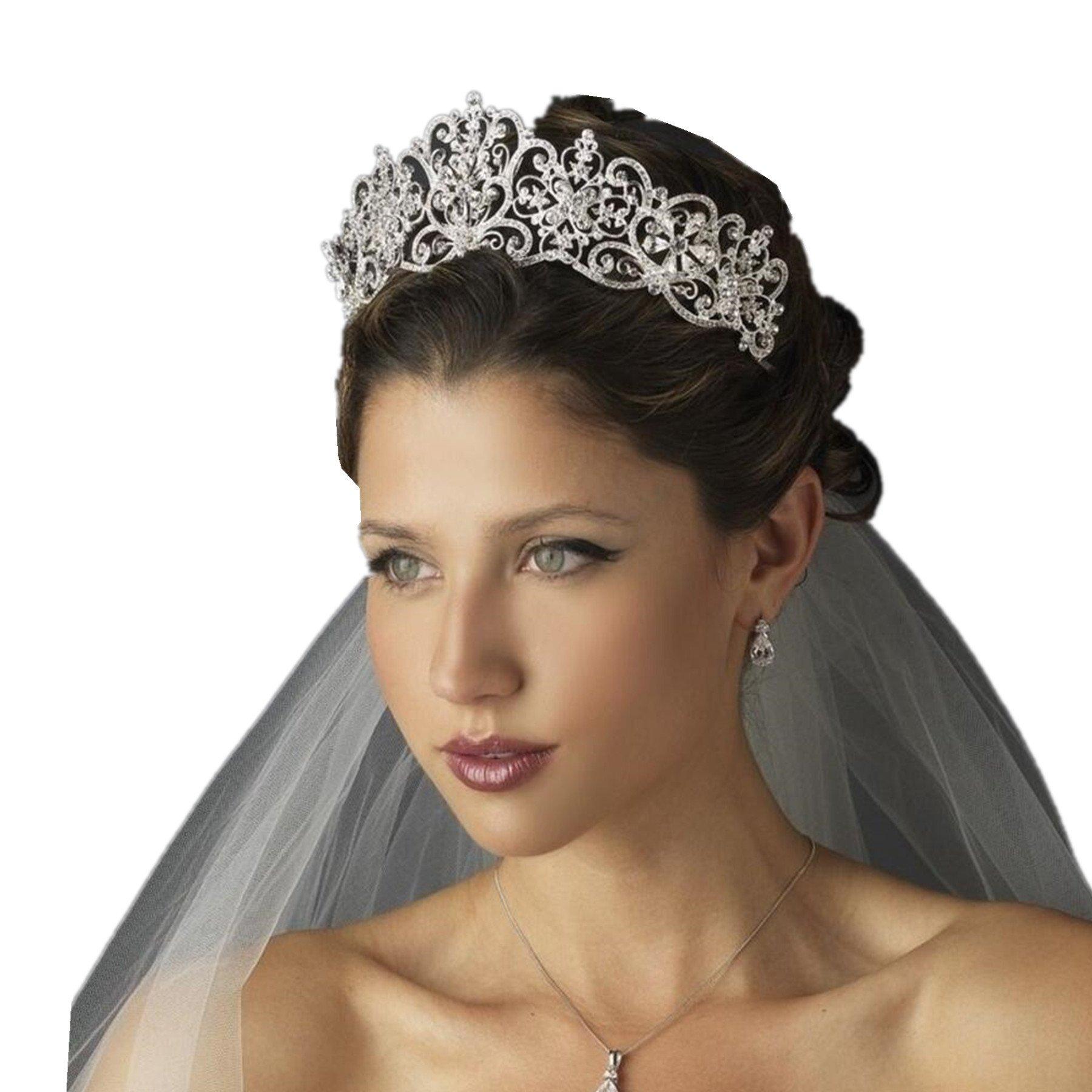 Wiipu Luxury Crystal Rhinestone Royal Princess Wedding Bridal Tiara Crown(B641)