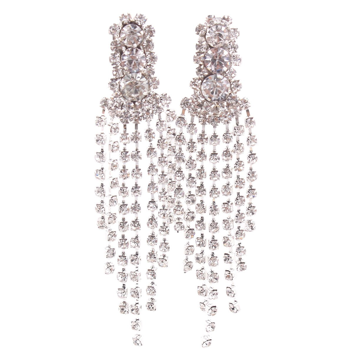 Grace Jun New Style Large Tassel Clip on Earrings Without Piercing Rhinestone Statement Earrings China B0714DBZVY_US