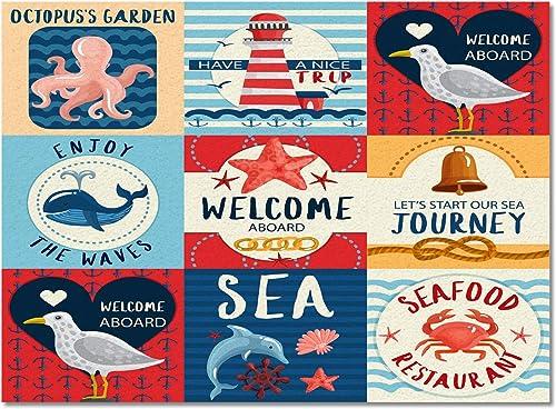 Rectangular Area Rugs 5'x 8'Cartoon Lighthouse Octopus Whale Marine Sea Animal Carpets Indoors/Living Dining Room/Bedroom/Children Playroom/Kitchen/Bathroom Floor Mats Non Slip Rubber Backing Nautical