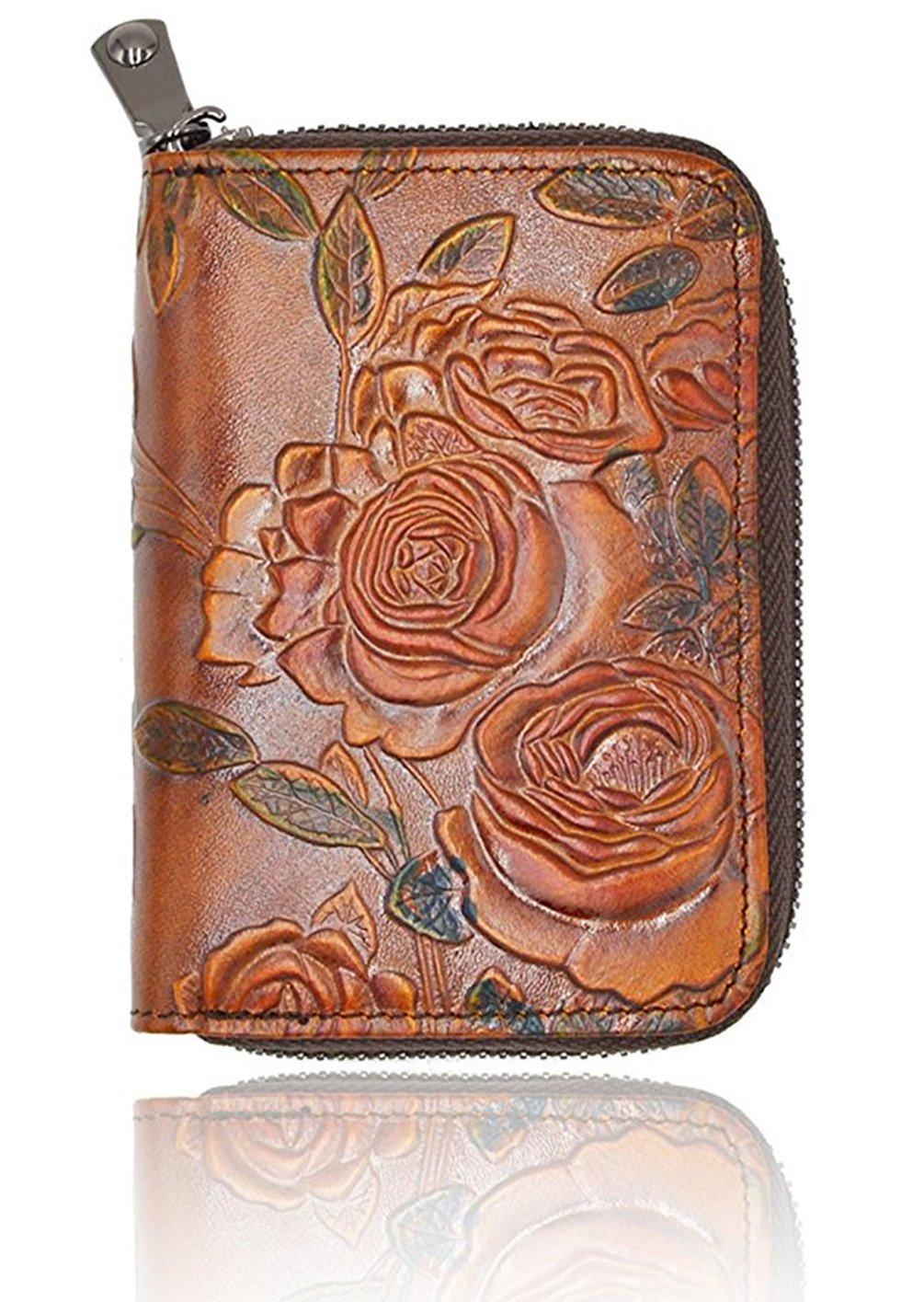 Portatarjetas de la tarjeta de crédito del cuero de las mujeres RFID que bloquea - 3D Diseño de la flor - Minorista de la cartera de las mujeres del ...
