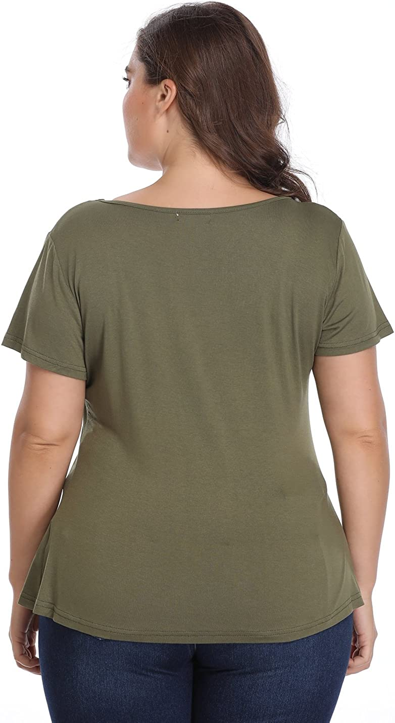 Green Size 16.0 Miss Moly Peplum Tops for Women Deep V-Neck Ruched Plus Size