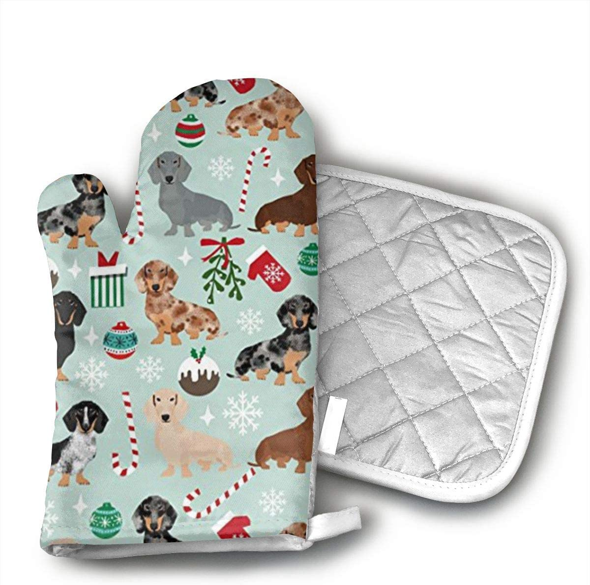 Wiqo9 Xmas Holiday Dog Dachshund Oven Mitts and Pot Holders Kitchen Mitten Cooking Gloves,Cooking, Baking, BBQ.